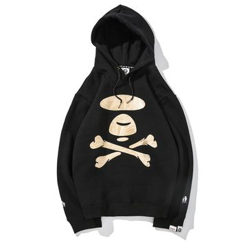 AAPE autumn and winter new men and women hooded sweater black