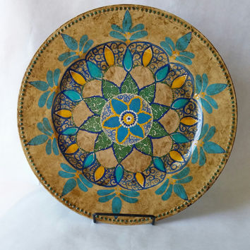 Decorative platter, decorative plate, hand painted plate, kitchen decor, decorating plate, multi color plate, design plate, teal and blue