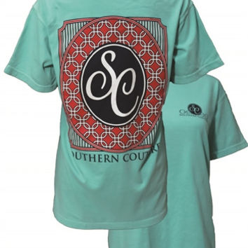 Southern Couture Oval Logo Pattern  Comfort Colors Chalky Mint Girlie Bright T-Shirt