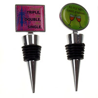 Wine Stopper Set 4 Aging To Perfection Wine A Bit Drink Triple See Double Single