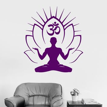 Vinyl Wall Decal Yoga Om Meditation Room Mantra Hindu Vedas Stickers Mural Unique Gift (ig3027)