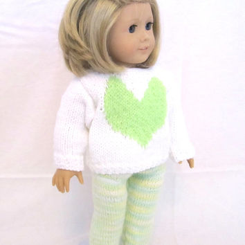 American Girl Sweater Legging Set Lime Green Heart