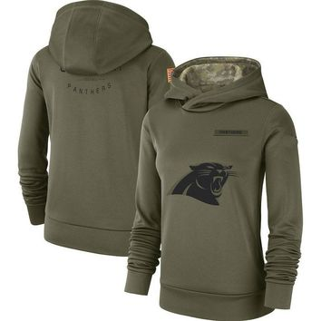 Women Carolina Panthers Olive Salute to Service Pullover Performance Hoodie