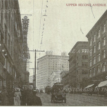 Upper Second Avenue - Black and White Vintage Postcard - Street Scene