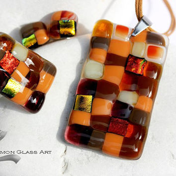 Brown mosaic glass jewelry