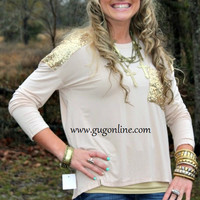 Glitz and Glam Gold Sequins on Beige Long Sleeve Top