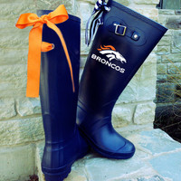 Denver Bronco Navy Matte Rain Boot with Custom Bow