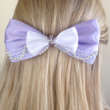 Princess Sofia Purple Royalty Tiara Bow with Pearls and Lace by Design Bowtique