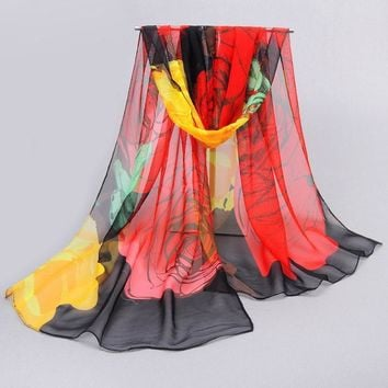 Accessories women scarf 2017 new design long shawl print  scarves cape silk chiffon tippet muffler