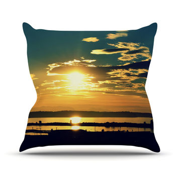 "Robin Dickinson ""Conquer Your World"" Orange Blue Throw Pillow"