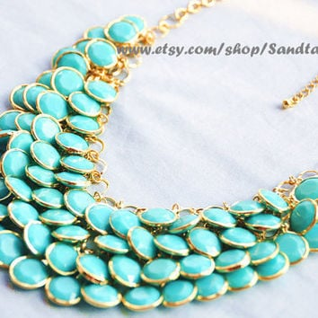 Sale- Aqua- Turquoise- Bubble statement necklace, Autumn Jewelry, Beaded Jewelry