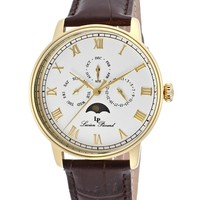 Men's Moubra White Dial Brown Genuine Leather LP-10527-YG-02 Watch