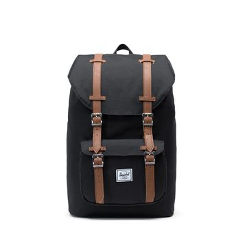 Herschel Supply Co. - Little America Black Tan Synthetic Leather Mid Volume Backpack
