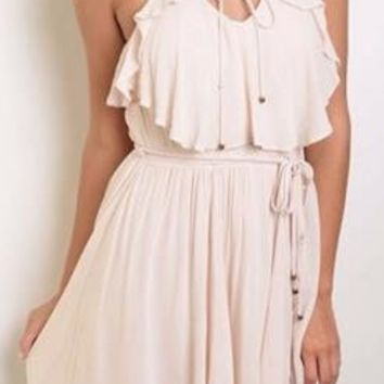 Tied Forever Together Blush Pink Lace-Up Dress