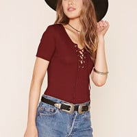 Lace-Up Stretch-Knit Top