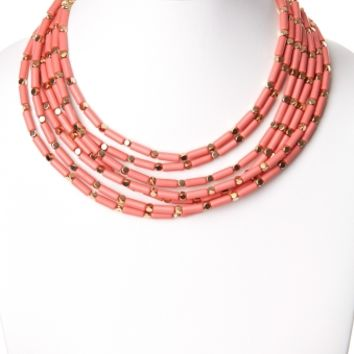 Coral Gold Beaded Layer Necklace