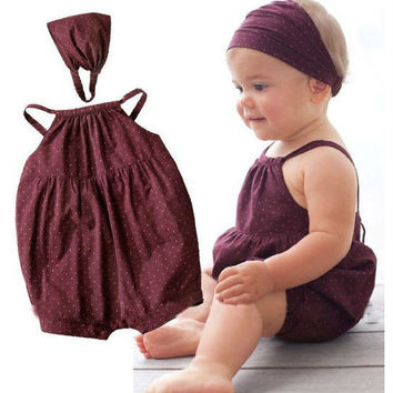 Hot retail newborn baby sleeveless rompers + headbands baby girl clothing set Infant clothes