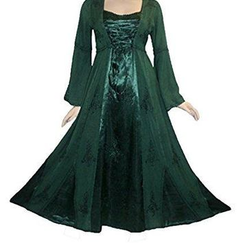 Rayon Satin Medieval Gothic Renaissance Corset Bell Sleeve Dress Gown