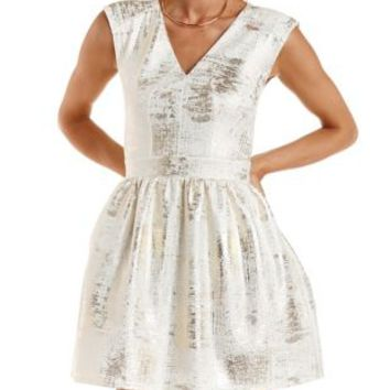 Ivory Combo Textured & Foiled Skater Dress by Charlotte Russe