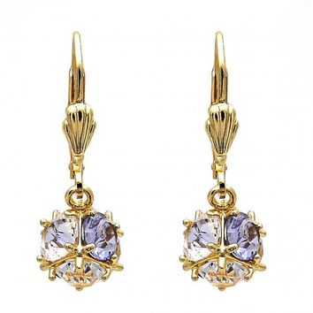 Gold Layered Dangle Earring, Ball Design, with Crystal, Gold Tone