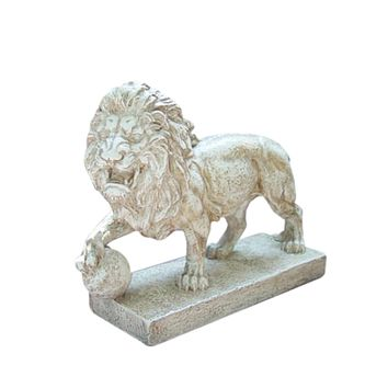 "10.5"" Weathered Finish Ferocious Lion Outdoor Patio Garden Statue"