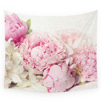 Society6 Peonies On White Wall Tapestry