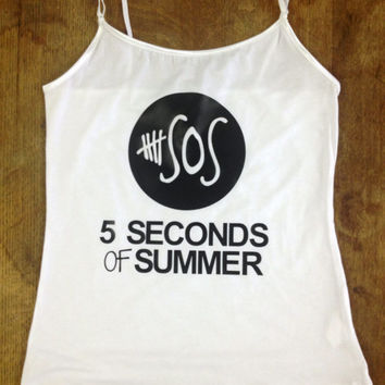 5SOS Tank Top with Custom printed Vinyl letters.  Unique 5 Seconds of Summer Tank with quality print.
