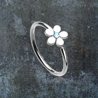 Silver Daisy Nose Hoop Nose Ring