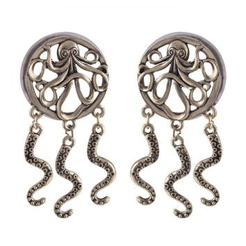 Women Stainless Steel Pulley Octopus Design Ear Plugs Hollow Expander Stretcher Plugs And Tunnels 6-14mm Piercing Jewelry