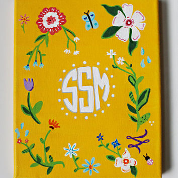 Custom Monogram 8x10 inch Canvas Painting, Customized flower painting, bedroom decor, College canvas