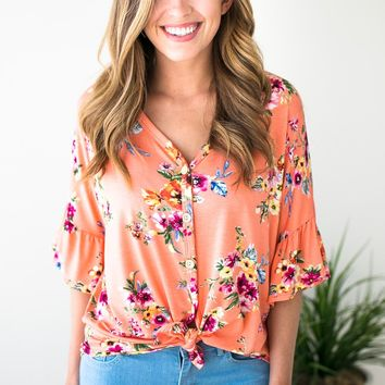 You're On My Mind Tie Front Top - Coral