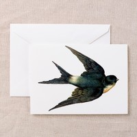 Vintage Swallow Bird Art Greeting Card on CafePress.com
