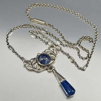 Arts & Crafts Sterling Silver Lapis Lazuli Necklace Art Nouveau
