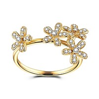 Solid 14k Yellow Gold Elegant SI/H Natural Diamonds Flower Women Engagement Wedding Ring Party Valentine's day gifts