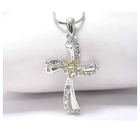 """Beautiful Me"" Eye Catching Crystal Accented Swirl Cross Pendant Necklace"