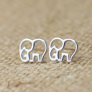 Cute Elephant Silver Earrings Studs