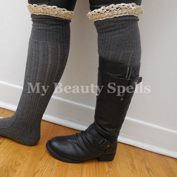 Gray Boot Socks Leg Warmers tight high knee Boot Topper Knitted Boot Socks Crochet Lace Trim