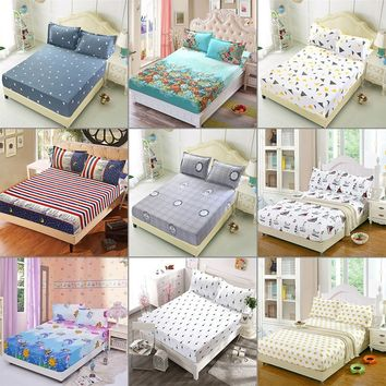 180cmx200cm Floral Color Fitted Sheet Twin Full Queen King Cotton Bed Sheet Cover New []