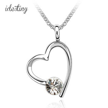 best gift for girl friend famous brand design platinum plating genius Austrian crystal heart necklace