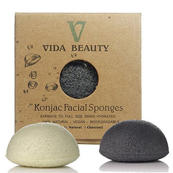 KONJAC BATH SPONGE 2 Pack Charcoal & Natural bath Sponge, 100% Natural Bath Sponge, Exfoliating Bath Sponge, Deep Cleansing, Improved Skin - Facial Sponge, For Sensitive Skin, Hypoallergenic