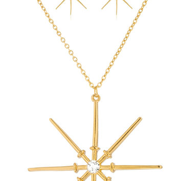 Goldtone North Star Pendant with 17.5 Inch Link Necklace and Matching Earrings Jewelry Set