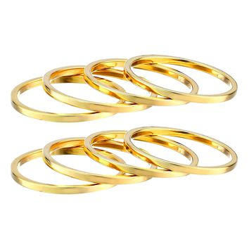 Set of 8 Women's Plain Band Knuckle Stacking Midi Rings by Silver Phantom Jewelry