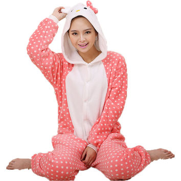 Pink Dots Kitty Cat Pajamas Halloween Costume Cosplay Homewear Lounge Wear