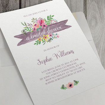 Printable Bridal Shower Invitation, Printable Baby Shower Invitation, 5 x 7 Inch, Watercolor Flowers, Flower Bouquets, Bridal, Baby