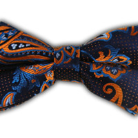 Pin Paisley - Navy/Orange (Bow Ties) | Ties, Bow Ties, and Pocket Squares | The Tie Bar