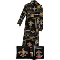 NFL New Orleans Saints Pillow Snuggie, Large, Black