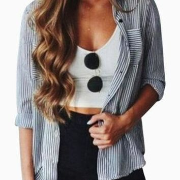 Stripe Pattern Button Design Pocket Front Blouse