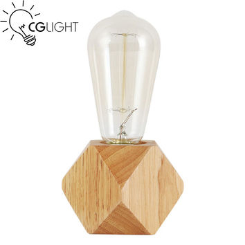 Creative small size original wooden table light dimmable switch mini table lamp home decoration lighting E27 ceramic holder