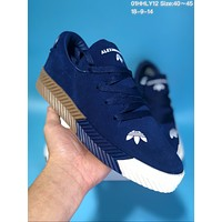 DCCK Adidas x Alexander Wang Suede Thick Bottom Plate Shoes Dark Blue