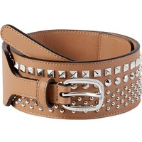 Gucci Women's Beige Studded Leather Wide Waist Belt